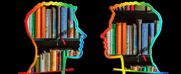 Kopfsilhuoetten mit Büchern